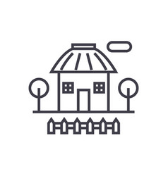 rural house concept thin line icon symbol vector image