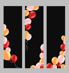 vertical banner with colorful helium balloons vector image vector image
