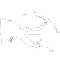 Black White Papua New Guinea Outline Map vector image vector image