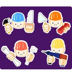 builders with professional tool vector image