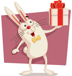 happy easter bunny holding gift box cartoon vector image vector image