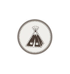 tent icon patch and sticker vintage hand drawn vector image