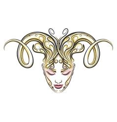 Girl with horns of a ram drawn in tattoo style vector image
