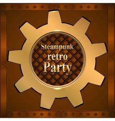 Invitation flyer on retro steampunk party vector image