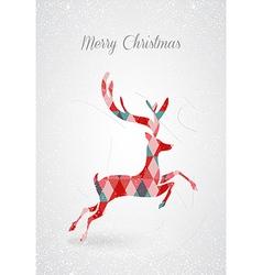 Merry Christmas retro abstract deer postal card vector image