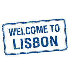 Welcome to lisbon blue grunge square stamp vector