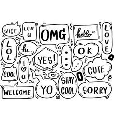 0110 hand drawn background set cute speech vector
