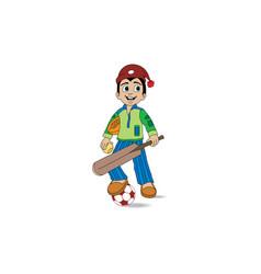 A boy holding a bat and soccer vector