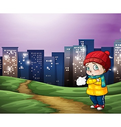 A young child across the tall buildings in the vector