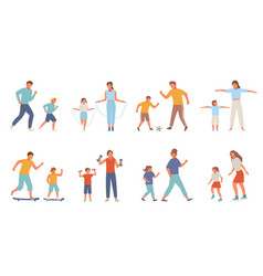 active family sport set mother daughter teenager vector image