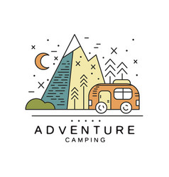 adventure camping logo design tourism hiking vector image