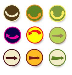 Arrow icon set with circle vector
