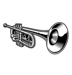Black and white trumpet vector