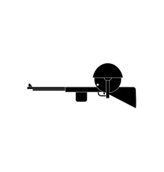 Black icon on white background soldier with rifle vector