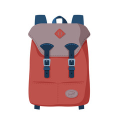 Brown backpack front view travel bag vector