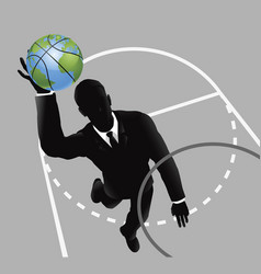 business man slam dunking basketball vector image