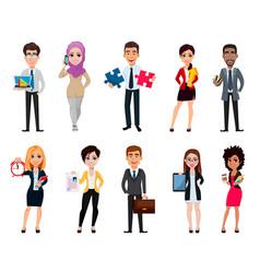 Business people set ten cartoon characters vector