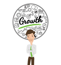 businessman thinking about business growth vector image