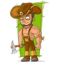 Cartoon strong lumberjack with axe vector