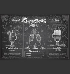 Chalk drawing christmas menu design with champagne vector