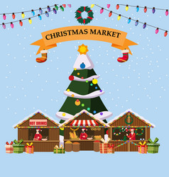 Christmas souvenirs market stalls with decorations vector