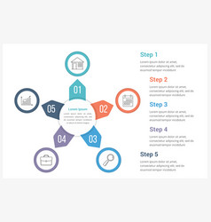 circle infographics template with five elements vector image
