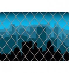 city behind fence vector image