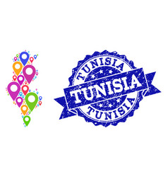 Collage map of tunisia with map markers and grunge vector