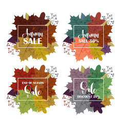 Collection of autumn sale and other typography vector
