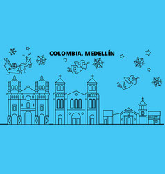 Colombia medellin winter holidays skyline merry vector