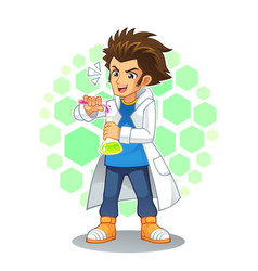 cool scientist mascot character vector image