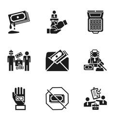 Corruption icon set simple style vector
