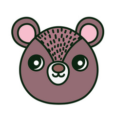Cute brown bear head character cartoon vector