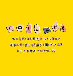 decorative cyrillic font zine collage style vector image