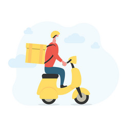 delivery man in face mask on motorcycle vector image