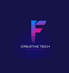 f initial letter logo design with digital pixels vector image