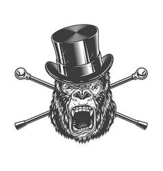 ferocious gorilla head in cylinder hat vector image