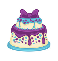 festive two-tier cake with beautiful purple bow on vector image