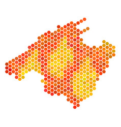 Fire hexagon spain mallorca island map vector