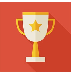 Flat Award Gold Trophy Cup with long Shadow vector image