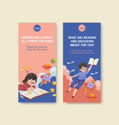 Flyer template with international literacy day vector