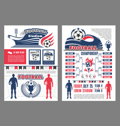 Football stadium and soccer match schedule poster vector