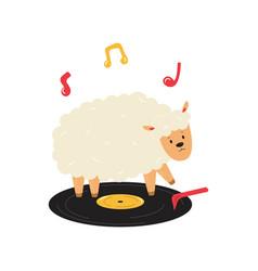 funny sheep dancing on vinyl vector image