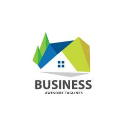 geometric house logo vector image