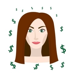 Girl Thinking about money vector
