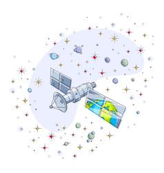 global communication technology satellite flying vector image