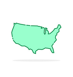 green cartoon thin line usa icon vector image