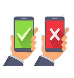 Green checkmark and red cross on smartphone vector