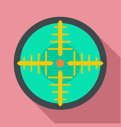 Green gun aim icon flat style vector