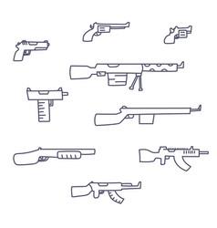 Guns hand drawn set childish doodle style vector